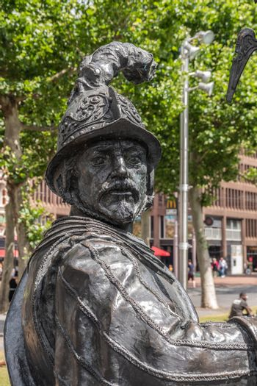 Warrior statue on Rembrandtplein, Amsterdam, the Netherlands.
