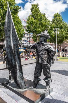 Ensign statue on Rembrandtplein, Amsterdam, the Netherlands