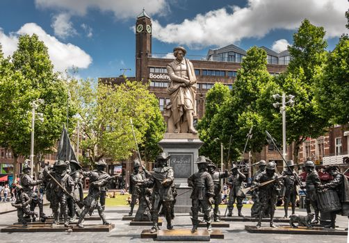 De Nacht Wacht group of  statues on Rembrandtplein, Amsterdam, t