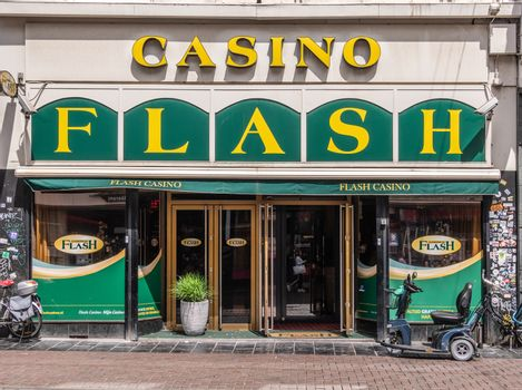 Entrance to Flash Casino in Amsterdam, the Netherlands.