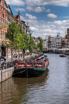 Floating bike parking in Amsterdam, the Netherlands.