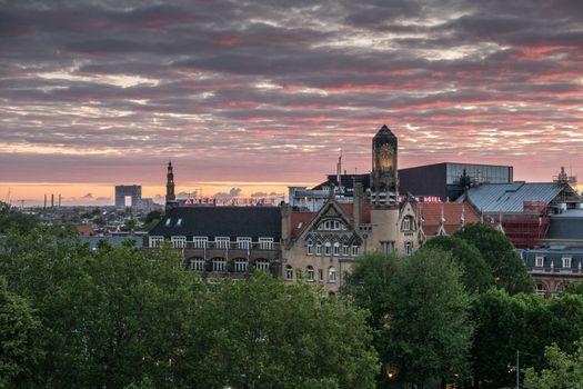 Daybreak skies with Pontsteiger over Amsterdam, the Netherlands.
