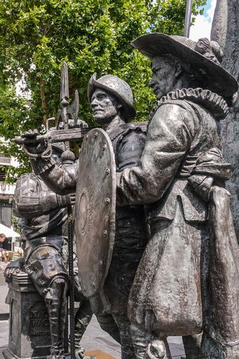 Three soldier figure statues on Rembrandtplein, Amsterdam, the N