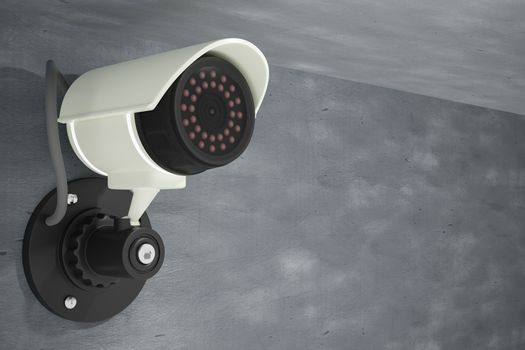 CCTV installed on a cement wall. It is a security system using surveillance of specialized video recorders. The concept of security using technology to help ease the burden. 3D illustration rendering