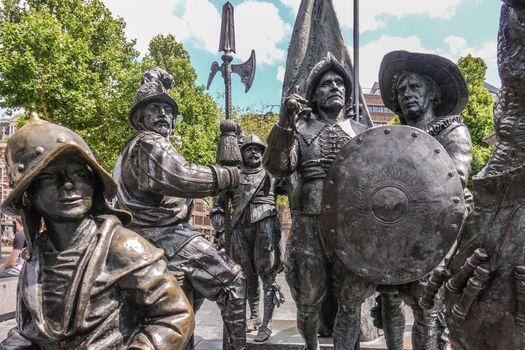 Five soldier figure statues on Rembrandtplein, Amsterdam, the Ne
