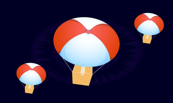 digital textile design of hot air balloon on abstract background