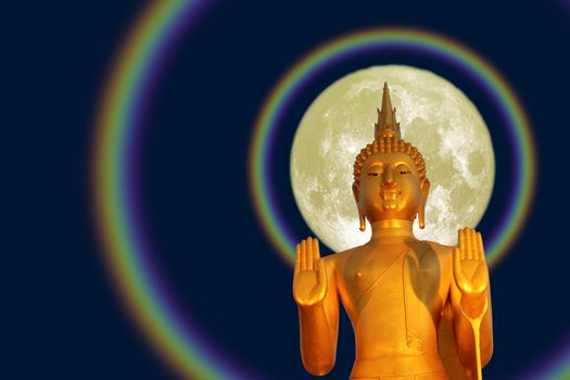 Buddha pacifying the ocean and full moon halo on the Asanha buch