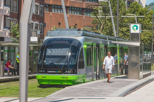 """Bilbao, Spain - July 19, 2016 : Tramway of the company """"EuskoTran"""" arrested in a station in the city of Bilbao, Spain"""