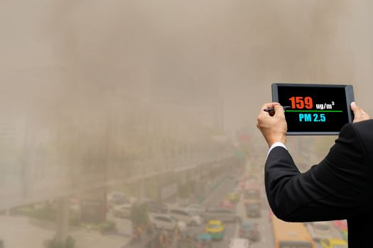 Pollution in cities with dust smoke pm2.5