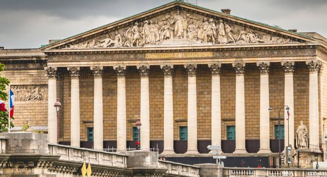 Paris, France - May 08, 2017 :  The French National Assembly is in the Bourbon palace, located on the left bank of the Seine opposite the Place de la Concorde.