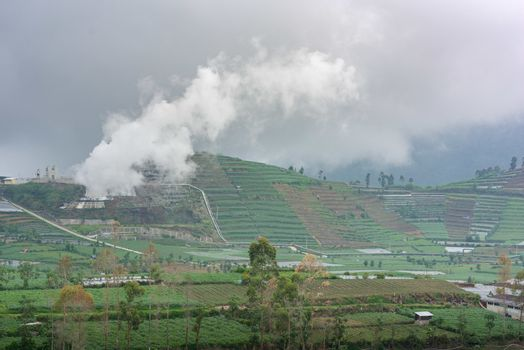 A volcanic sulphur plant releases fumes over Dieng agricultural