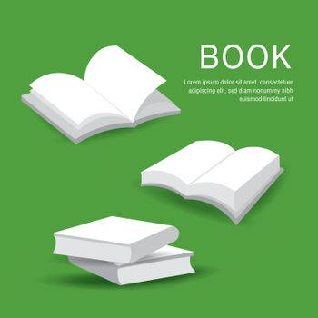 Set of blank book cover with white paper open and closed books isolated on background. Vector illustration.