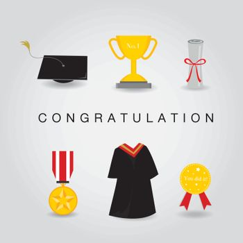 Graduation Day Vector Icon set of Celebration and Congratulation Elements in Flat Design.