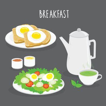 Set of Breakfast, bread, fried egg, salad and green tea. Cartoon Vector illustration