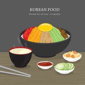 Set of Traditional Korean food, Bibimbap Rice with Soup and Vegetables Salad. Cartoon Vector illustration
