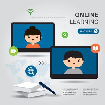 E-Learning Online Education Application on phone, mobile, website. With blank book cover white paper on background. Vector illustration.