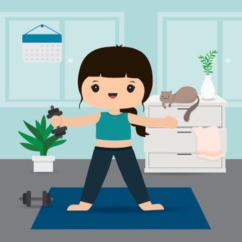 Quarantine, stay at home concept. Working from home, Woman doing exercise and yoga training at home gym. Character Cartoon Vector illustration