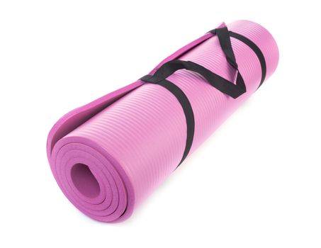 yoga mat in front of white background