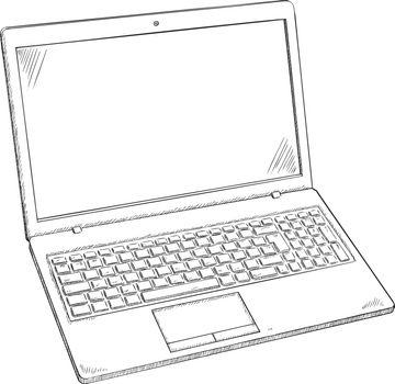 Illustration of Laptop PC - sketch style doodle. Hand drawn doodle vector illustration.