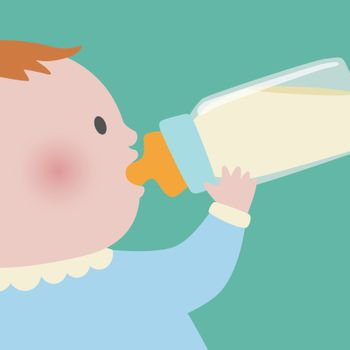 Close up of baby on blue cloth drinking milk from baby bottle