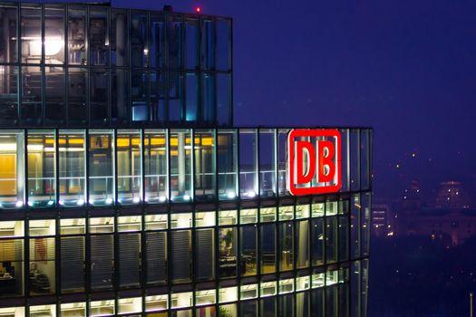 Deutsche Bahn, DB, office illuminated at night