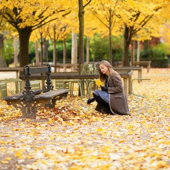 Girl gathering autumn leaves in a park