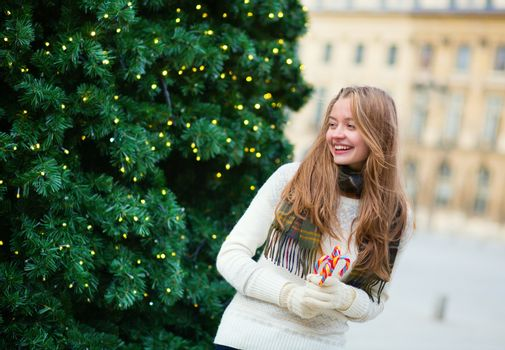 Cheerful girl on a Parisian street