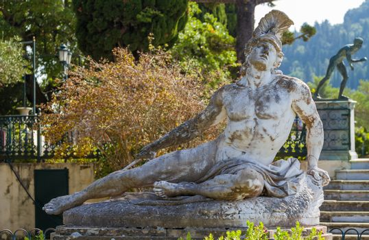 Famous statue Wounded Achilles in the garden of Achillion palace