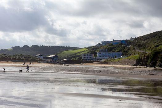 Sweeping vista of Mawgan Porth Beach, North Cornwall, England