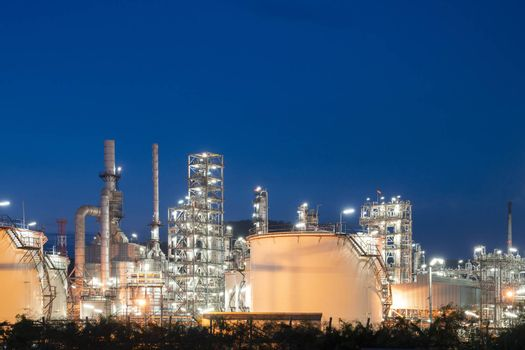 Oil refinery plant from bird eye view at night