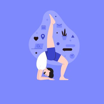 Flat and line illustration of a person practicing yoga with lifestyle icons on the backround