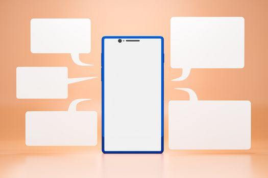 Cell phone with blank LCD screen and chatbox around a smartphone on orange background. Concepts of communication using modern technology through the use of online social forms. Realistic 3D rendering.