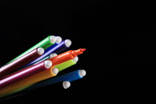 Colored Sketch Pen Back to School on Black background