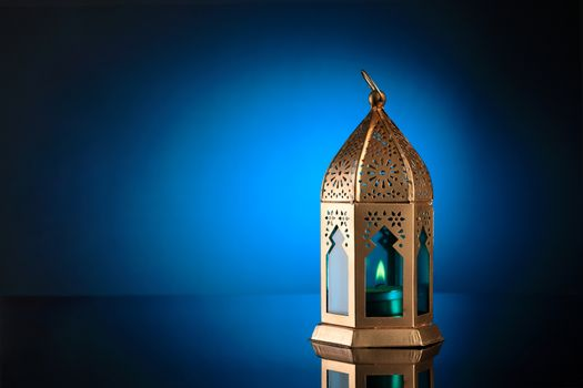 Gold and Blue Islamic Lantern for Ramadan / Eid Celebrations
