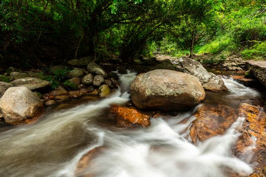 Smooth flowing water of rock river inside deep tropical rainforest.