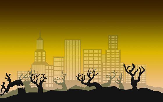 Environmental concept of deforestation for real estate