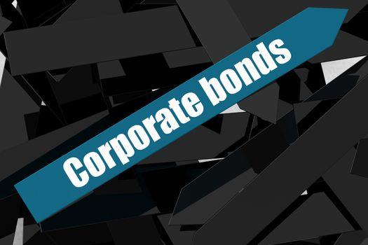 Corporate bonds word on the blue arrow