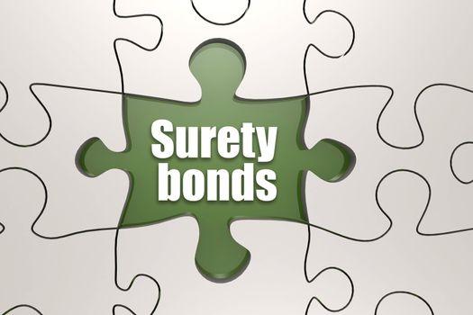 Surety bonds word on jigsaw puzzle