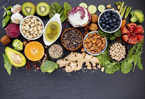 Ingredients for the healthy foods selection. The concept of heal