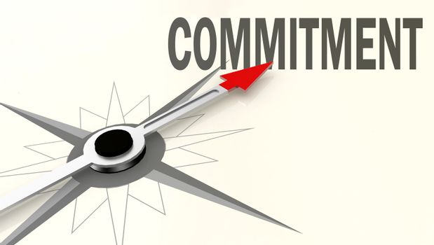 Commitment word on compass with red arrow