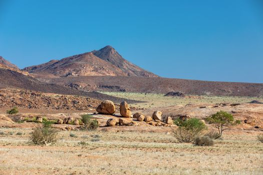 Desert around Brandberg mountain. Landscape near place with White Lady rock paintings. Namibia, Africa wilderness