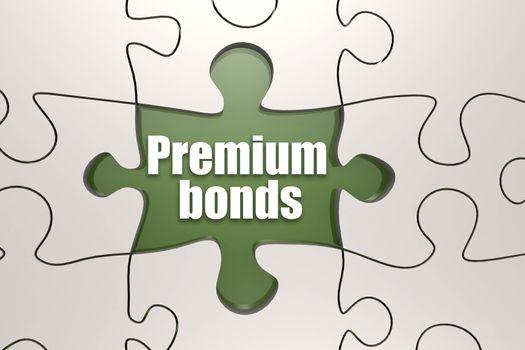 Premium bonds word on jigsaw puzzle