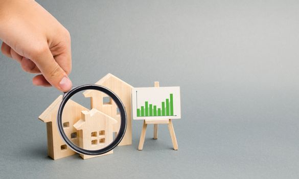 Magnifying glass is looking at the Wooden houses with a stand of graphics and information. Growing demand for housing. growth of city and its population. Investments. rising prices. Selective focus