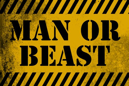 Man or beast sign yellow with stripes