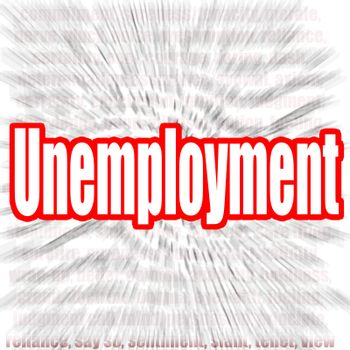 Unemployment word with zoom in effect