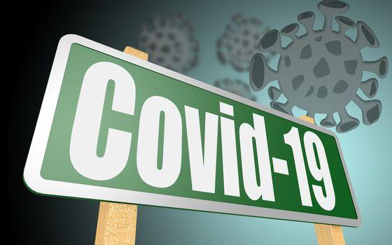 Corona virus Covid-19 sign. 3d rendering
