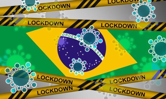 Lockdown of Brazil from corona virus. 3d rendering