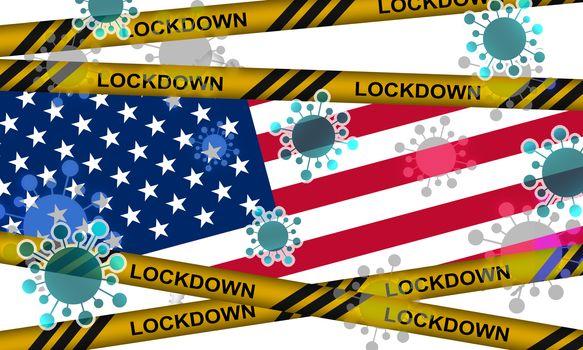 Lockdown of America from corona virus. 3d rendering