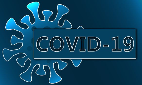 Corona virus Covid 19 with blue background, 3d rendering