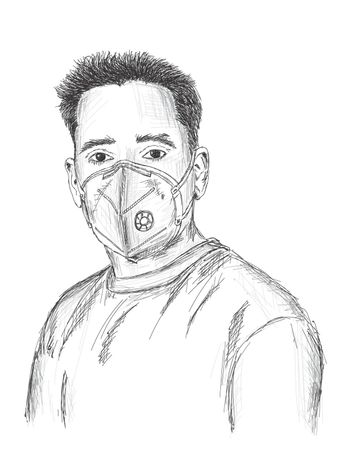 Man wearing mask for protection against virus, dust, pollution and smog - Vector Illustration
